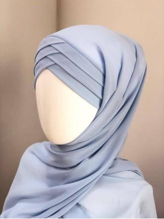 Готовый платок голубой