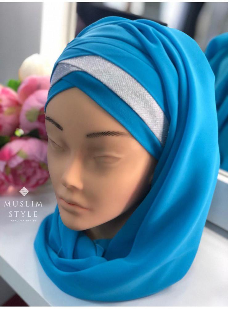 Готовый головной убор голубой