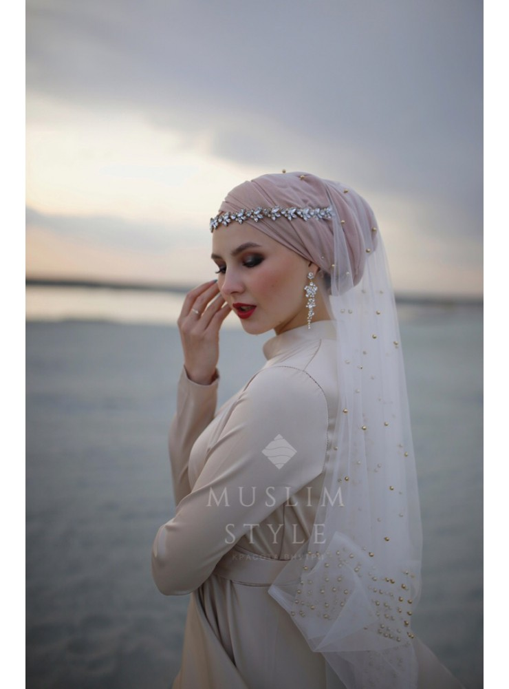 """Платье """"Амелия"""" бежевый с воротником"""