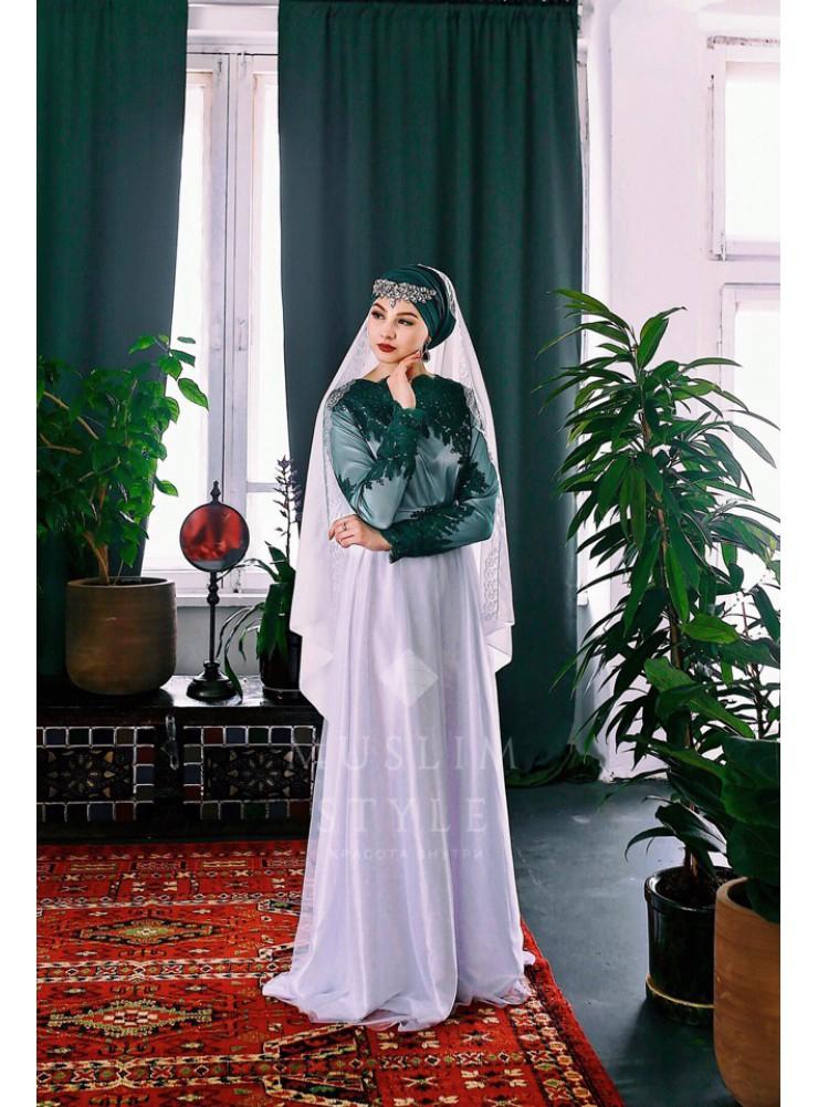 """Платье """"Жасмин"""" белый с зелёным"""