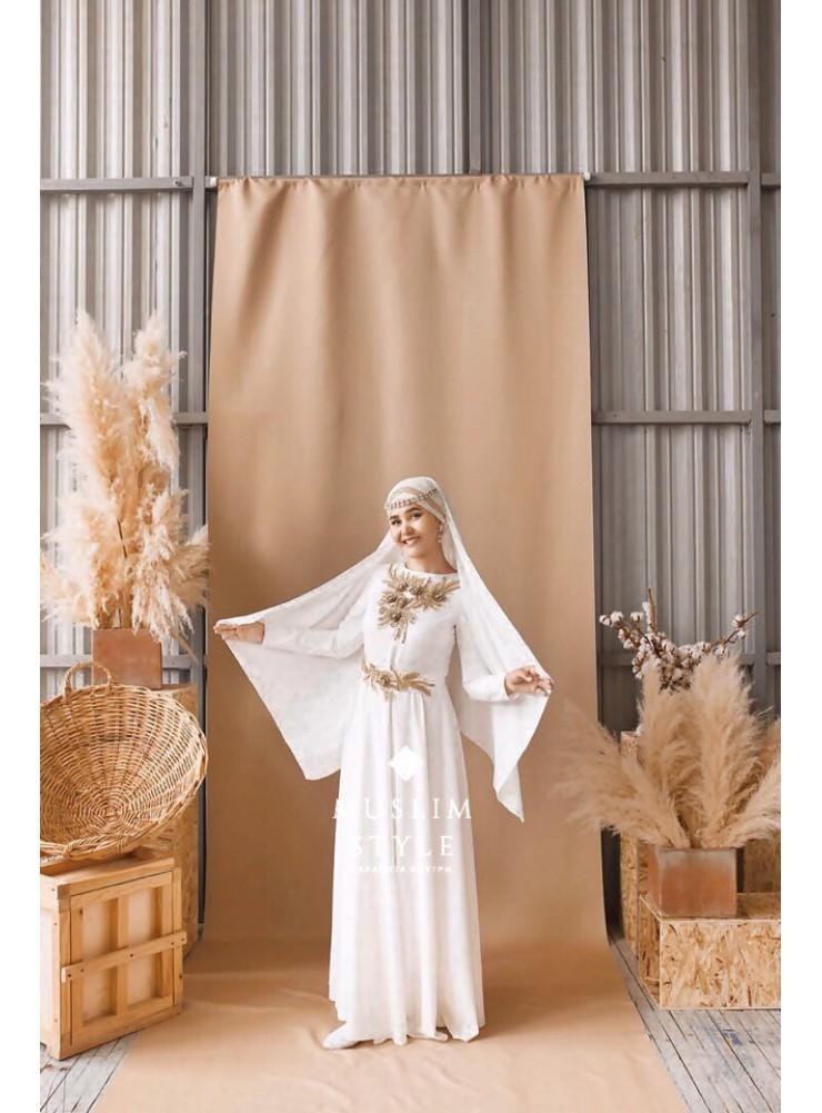 """Платье """"Наргиза"""" белое с золотым кружевом"""