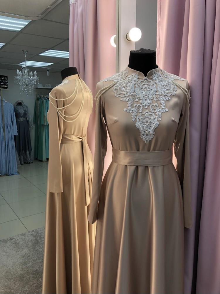 """Платье """"Нармин"""" золотое с белым кружевом"""