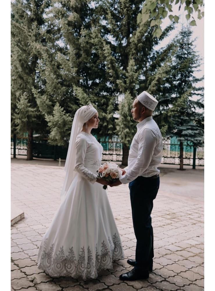 """Платье """"Великолепный Век"""" белое с серебряным кружевом"""