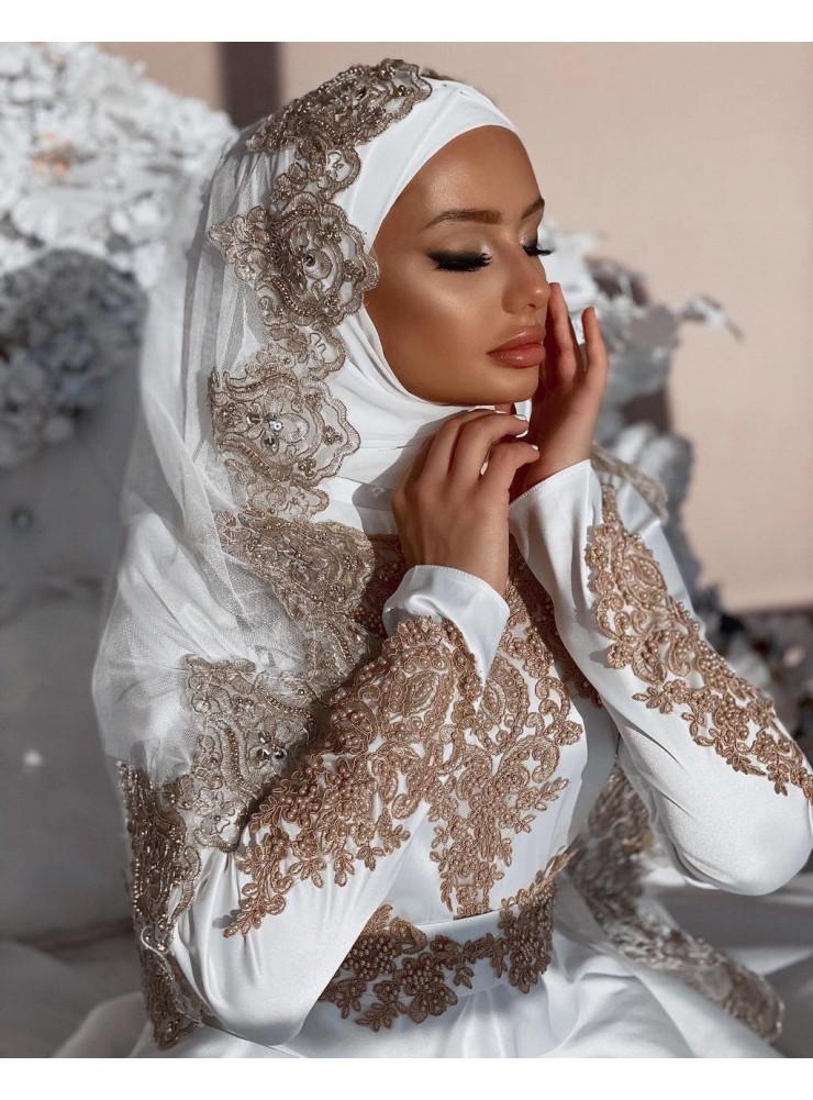 """Платье """"Севинч"""" белое с золотым кружевом"""
