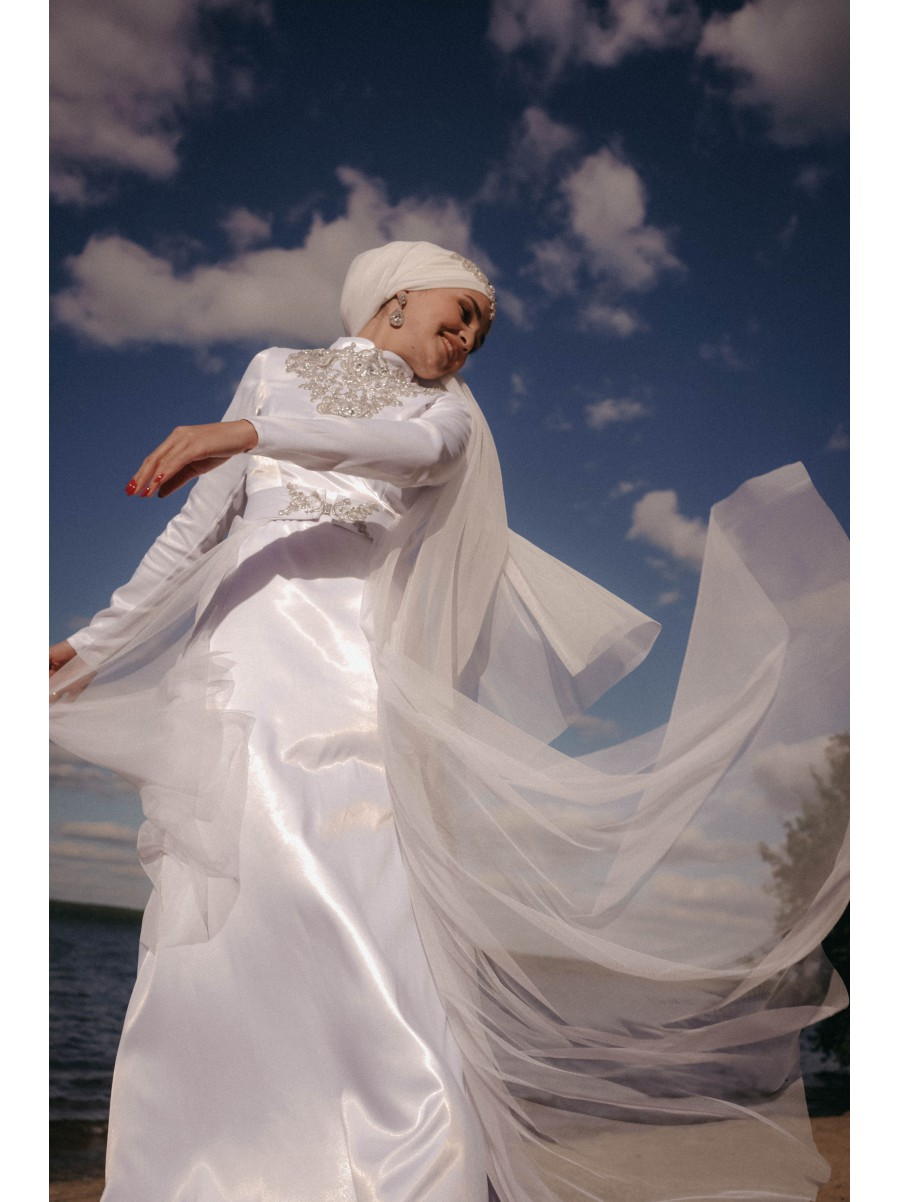 """Платье """"Эльза"""" со съёмной юбкой белое"""