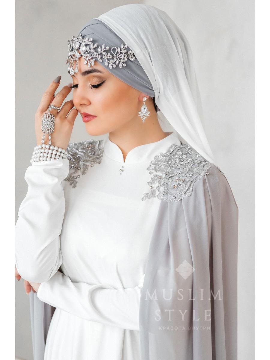 """Платье """"Крылья"""" белое с серым №1"""