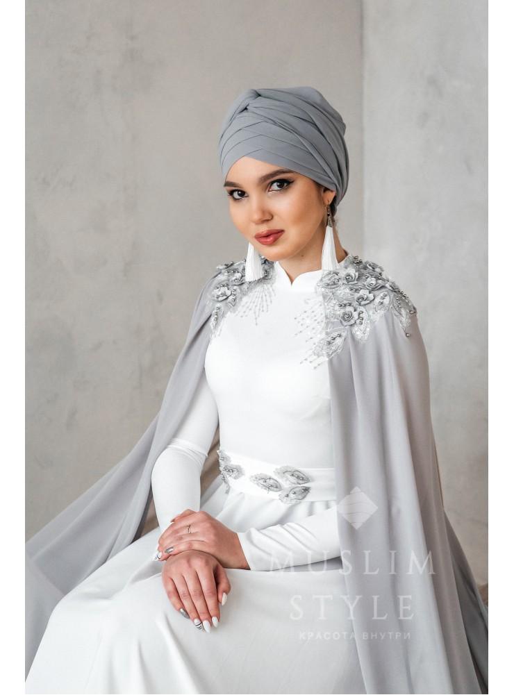 """Платье """"Крылья"""" белое с серым №2"""
