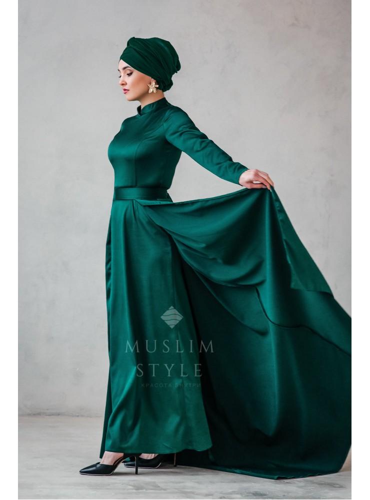 """Платье """"Наргиза"""" со съёмной юбкой изумруд"""