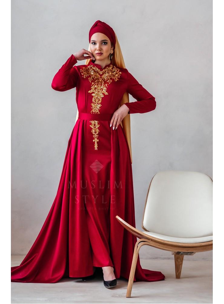 """Платье """"Наргиза"""" со съёмной юбкой бордо"""