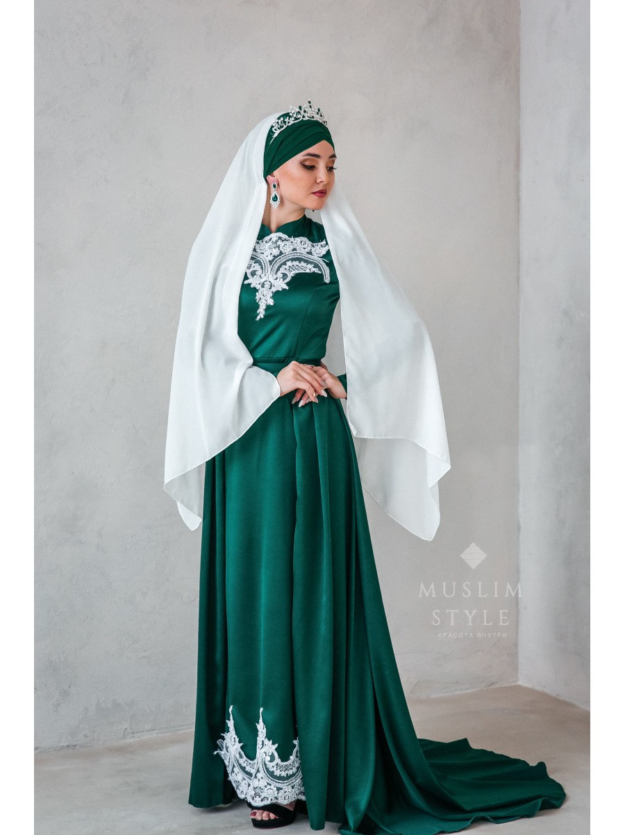 """Платье """"Наргиза"""" со съёмной юбкой с белым кружевом"""