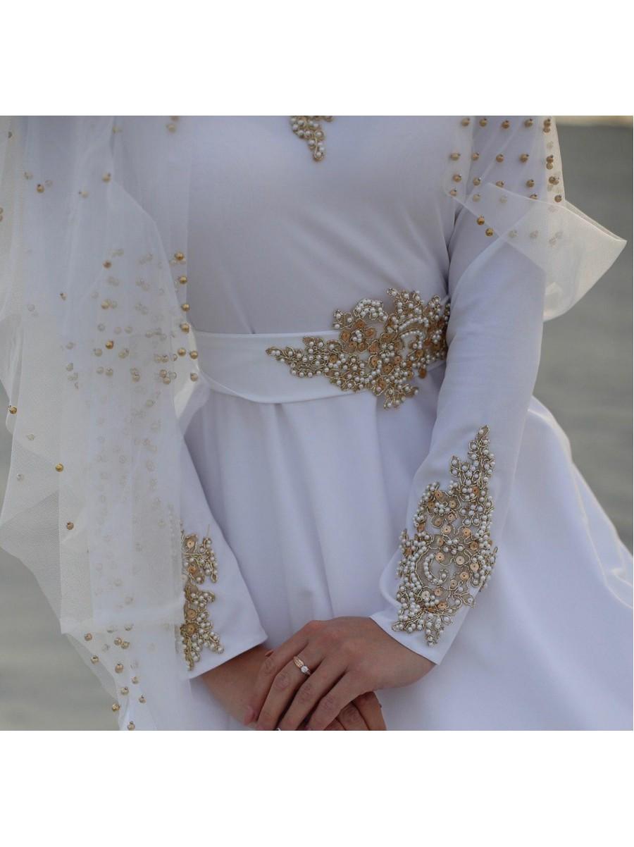 Платье «Muslim Style» белое ручной работы