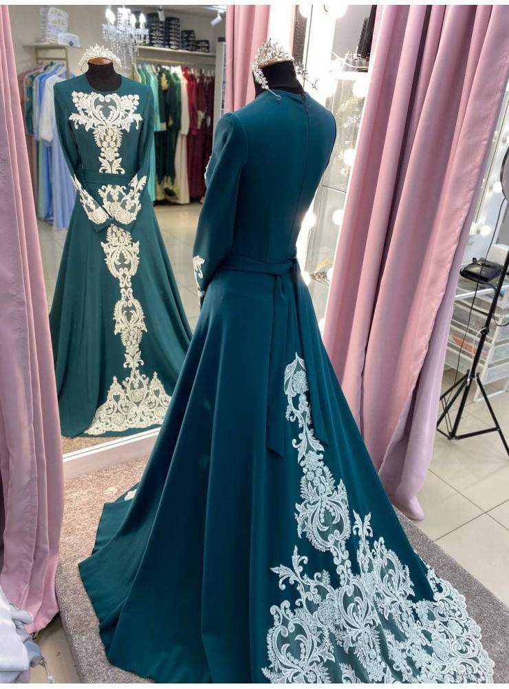 """Платье """"Сафия"""" зелёное в аренду"""