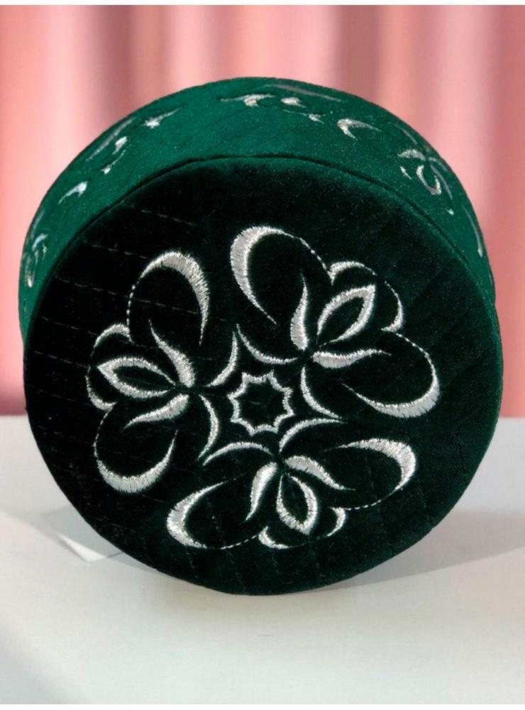 Мужская тюбетейка зеленая МируСалям с серебряным узором